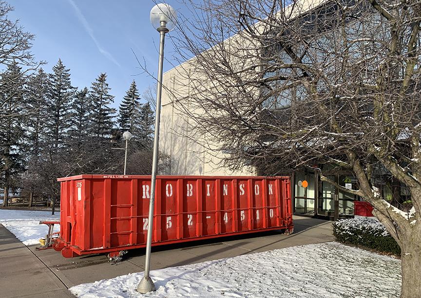Dumpster in front of Schweinfurth Art Center
